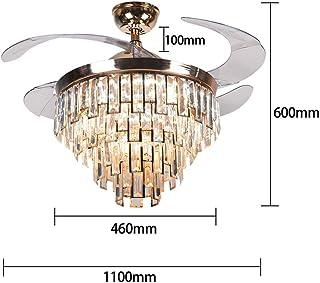 Rantoloys Luz de Ventilador de Techo de Cristal Invisible Lámpara de Ventilador de Techo de Comedor Moderno 42 Pulgadas 4 aspas de Ventilador Decoración de iluminación con Control Remoto