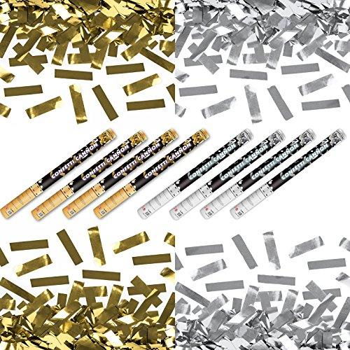 Kleenes Traumhandel XXXL (80 cm) 4X Silber- & 4X Goldregen im 8er Set Konfettishooter Partykanone Partypopper Streamer