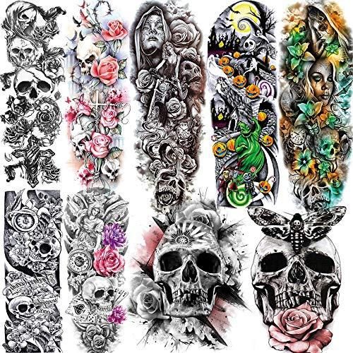 9 Sheets ALISA Halloween Costume Full Arm Temporary Tattoo Sleeve For Men Women Day of Dead Pumpkin Ghost Full Sleeve Temporary Tattoos For Kids Children Black Fake Death Skull Tatoos Custom Skeleton