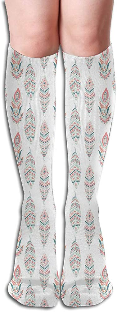 Men's and Women's Funny Casual Combed Cotton Socks,Hand Drawn Motifs Native American Culture Pastel Color Hippie