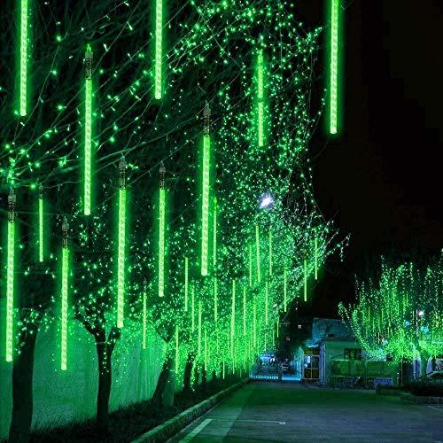 St Patricks Luces de Lluvia de Meteoritos, Luces de Lluvia 30Cm 12 Tubos 240 Led Luces de Cadena de Hadas de Lluvia Impermeables para El Día de Boda, Fiesta, St. Día de Patrick Home Patio Decor