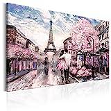 murando Cuadro en Lienzo 90x60 cm - Paris 1 Parte Impresión en Material Tejido no Tejido Impresión Artística Imagen Gráfica Decoracion de Pared Torre Eiffel Paisaje Rosa d-B-0147-b-a