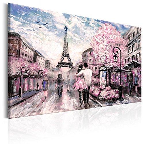murando - Bilder 120x80 cm Vlies Leinwandbild 1 TLG Kunstdruck modern Wandbilder XXL Wanddekoration Design Wand Bild - Paris Frankreich Eiffelturm Landschaft wie gemalt Rose d-B-0147-b-a
