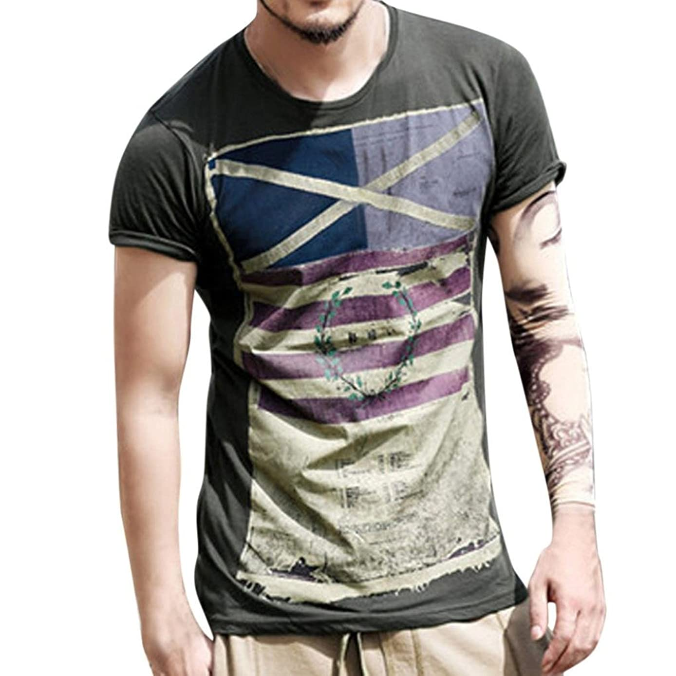 Litetao Clearance Men Top Personality Flag Slim Short Sleeve T-Shirt Blouse 4th of July USA