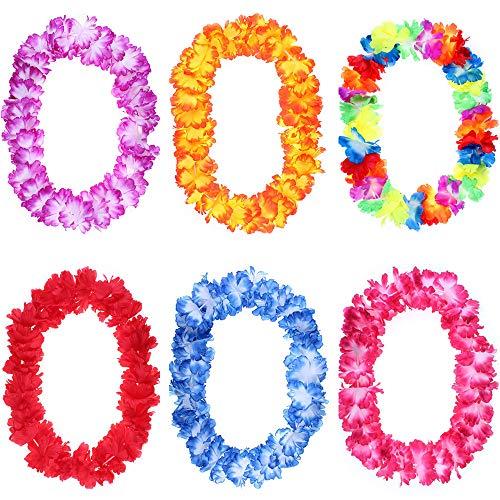 thematys Cadena de Flores Hawaianas decoración de Flores Flores Juego Hippie de 6 Piezas - para Adultos Carnaval y Cosplay