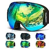 TOMSHOO Lunettes de Ski Masque de Snowboard Anti-buée Anti-UV Lunettes de Protection Lentille...
