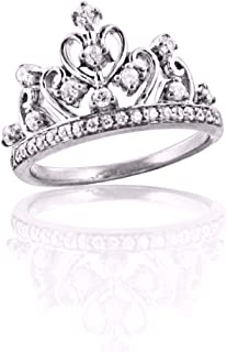 Round White Cubic Zirconia Tiara Princess Queen Crown Ring Best Women in 14k White Gold Over