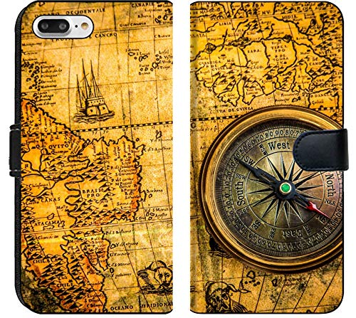 Liili Premium Phone Case Designed for iPhone 8 Plus and iPhone 7 Plus Flip Fabric Wallet Case Vintage Still Life Vintage Compass Lies on an Ancient World map of 1565 Photo