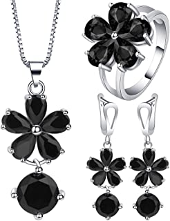 VPbao Flower Round Crystal Pendant 925 Sterling Silver Plated Jewellery Sets Black