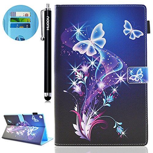 HUDDU Verträumter Schmetterling Schutzhülle Amazon Kindle Fire HD 8 (8-Zoll-Tablet 7. Generation - 2017) / Das neue Fire HD 8 Tablet (6. Generation - 2016) Hülle Flip Tasche Leder Smart Hülle Cover