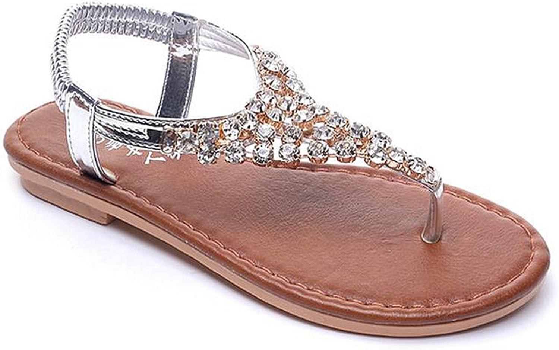 CYBLING Womens T-Strap Flat Sandals Ankle Strap Elastic Flip-Flops Summer Dress shoes