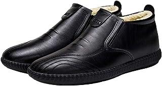 ZOSYNS Chaussures d'hiver en cuir pour homme - En coton - Antidérapantes - Doublure chaude - Respirantes - 39-44