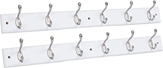 BirdRock Home Hook Coat and Hat Rack - 2 Pack - 6 Hooks - 27 Inches - Wall Mount - Decorative Home Storage - Entryway Foyer Hallway Bathroom Bedroom Rail - Satin Nickel Hooks - White Pine Bathroom