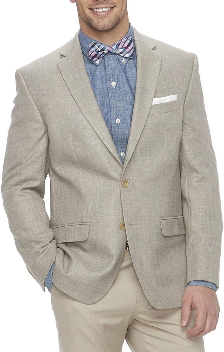 Chaps Mens Classic-Fit Stretch Summer Sport Coat Blazer Tan