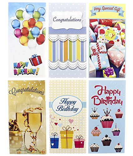 Birthday Cards Box Set � 36 Pack Birthday Money Card Holders, 6 Colorful Celebration Designs, Happy Birthday Cards Bulk, Envelopes Included, 3.5 x 7.25 Inches