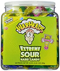 A tub of 240-counts Warheads extreme sour candy will make you pucker up Come in five assorted flavors including apple, black cherry, blue raspberry, lemon, and watermelon