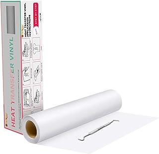 """Heat Transfer Vinyl White HTV Rolls - 12"""" x 20ft White Iron on Vinyl for All Cutter Machine, White HTV Vinyl for Shirts - ..."""
