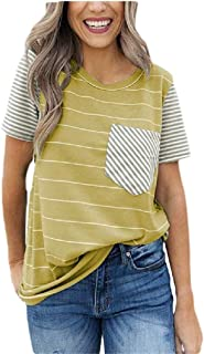 Andopa Womens Casual Blouse Short Sleeves Patched Cotton Pinstripe T-Shirt