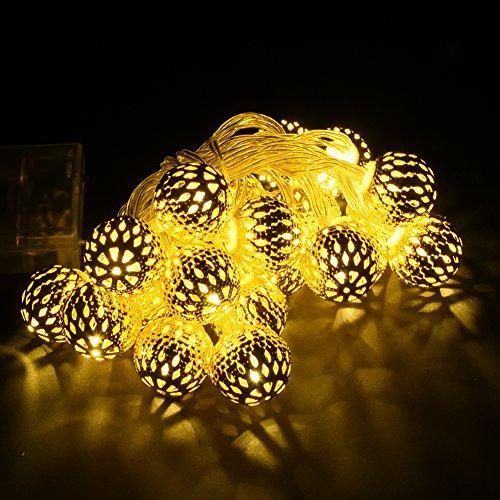 Guirlande lumineuse marocaine à piles avec 10/20/30 LED pour jardin, pelouse, patio - Lumière blanche chaude, White20, E27