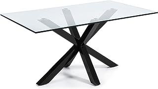 LF - Table de salle à manger Arya 160x90 noir plateau verre