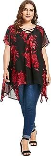 CharMma Women's Plus Size Criss Cross Front Short Sleeve Floral Blouse Tops
