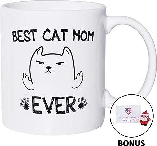 Best Cat Mom Ever Funny Coffee Mug - Novelty Christmas Birthday Cat Gifts For Cat Lovers 11 oz White Cat Mug, Bonus Pendant & Gift Card