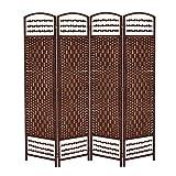 Biombo de 4 Paneles,Biombo Tejido a Mano Plegable Moderno Bambú Separador Habitación 170x40cm(café)