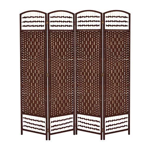 EBTOOLS 4 panelen opvouwbare kamerscherm scheidingswand inkijkbescherming vintage ruimteverdeler hout voor slaapkamer, woonkamer, kantoor en ingang koffie