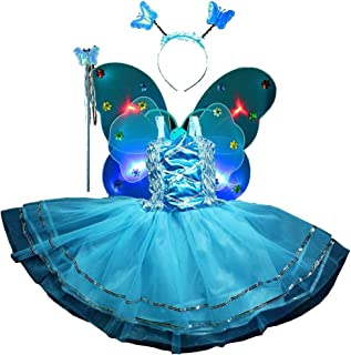 Fairy Costume Set 4pcs,Girls Dress Up Princess Dress, Butterfly Wings, Wand and Headband for Children Ages 3-8