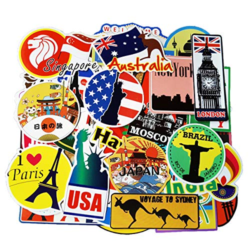 Travel Stickers Pack 100pcs Vinyl Waterproof Sticker for Luggage Trolley Case Laptop Car Decoration Decals Sun-Proof No-Duplicate Sticker Pack (Travel Stickers)