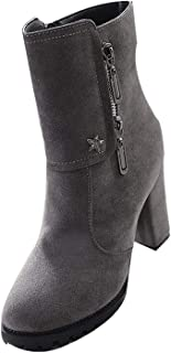 Women's Warm Round Closed Toe High Chunky Heel Nubuck Waterproof Cold Weather Solid Boots