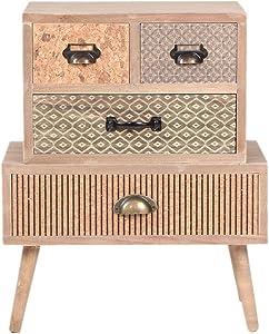 Viva Home Mueble de almacenamiento de madera MDF, 48 x 30 x 58 cm para salón o comedor, con 4 cajones diferentes, Color claro