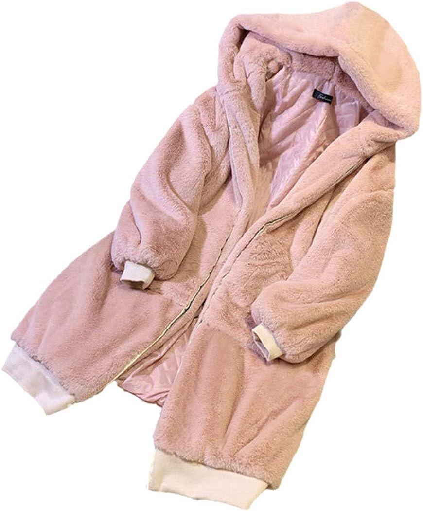 TRGHSFGJ Oversized Winter Faux Fur Coat,Women Parka Long Warm Faux Fur Jacket,Hoodies Loose Winter Outwear