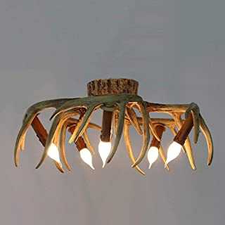 Dcqao American Country Creative Antlers Chandelier Retro Living Room Bedroom Ceiling Lamps Clothing Store Personality Ceiling Light Restaurant Cafe Bar Art Pendent Lights (Size : Ceiling Lamp)