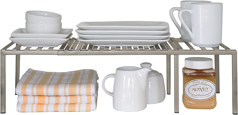 Amazon Com Seville Classics Iron Slat Expandable Kitchen Counter And Cabinet Shelf Platinum Home Kitchen