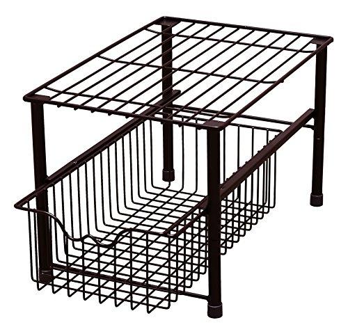 DecoBros Stackable Under Sink Cabinet Sliding Basket Organizer DrawerBronze