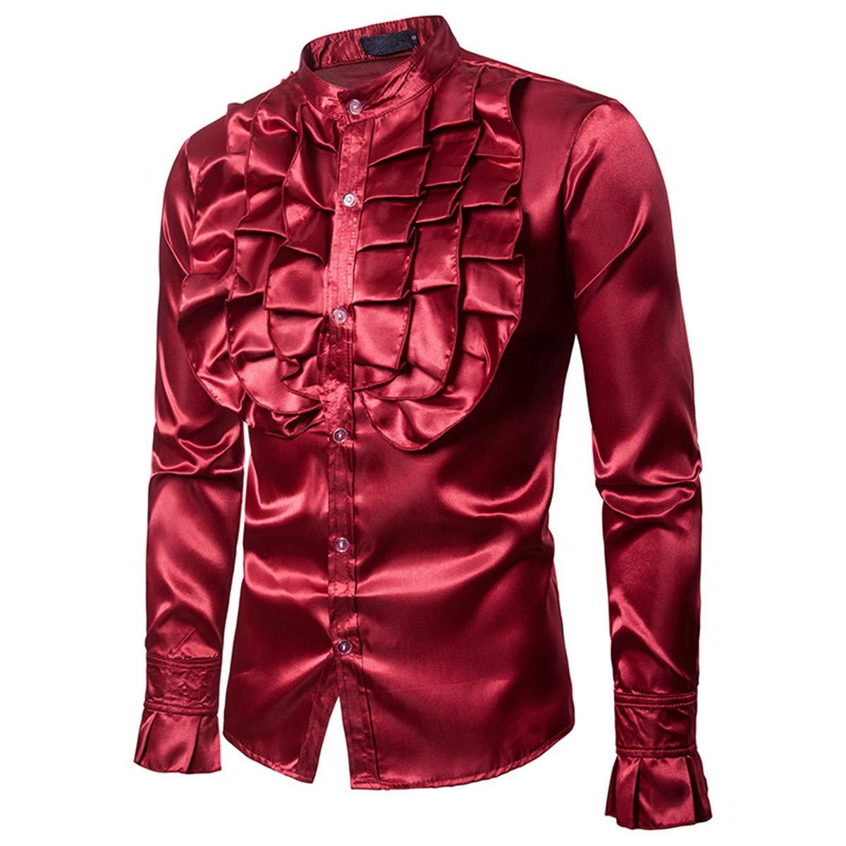 MPY- Mens Sweaters Camisa de Manga Larga para Hombre/Camisa de Manga Larga con Cuello Alto para Hombre, Color Rojo Vino, XL: Amazon.es: Deportes y aire libre