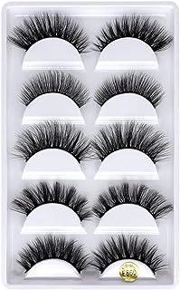 Xinjieda 5 Pairs 3D Eyelashes Long Thick Soft Artificial Fake Eye lashes for Women Eye Makeup, F840