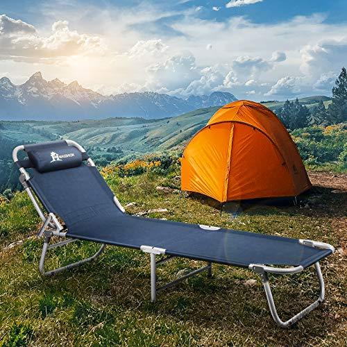 Lightweight Portable Folding Camping Lie Flat Cot Bed Reclining Lounger Chair 4LVL Adjustable w/Pillow & Carry Bag