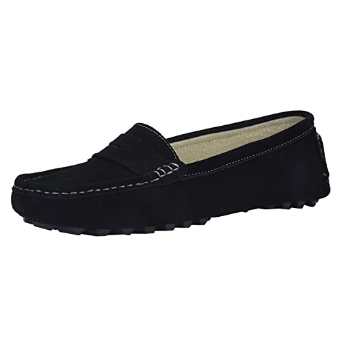 V.J Women's Classic Handsewn Suede Leather Driving Moccasins Penny Loafers Casual Slip On Fashion Boat Shoes