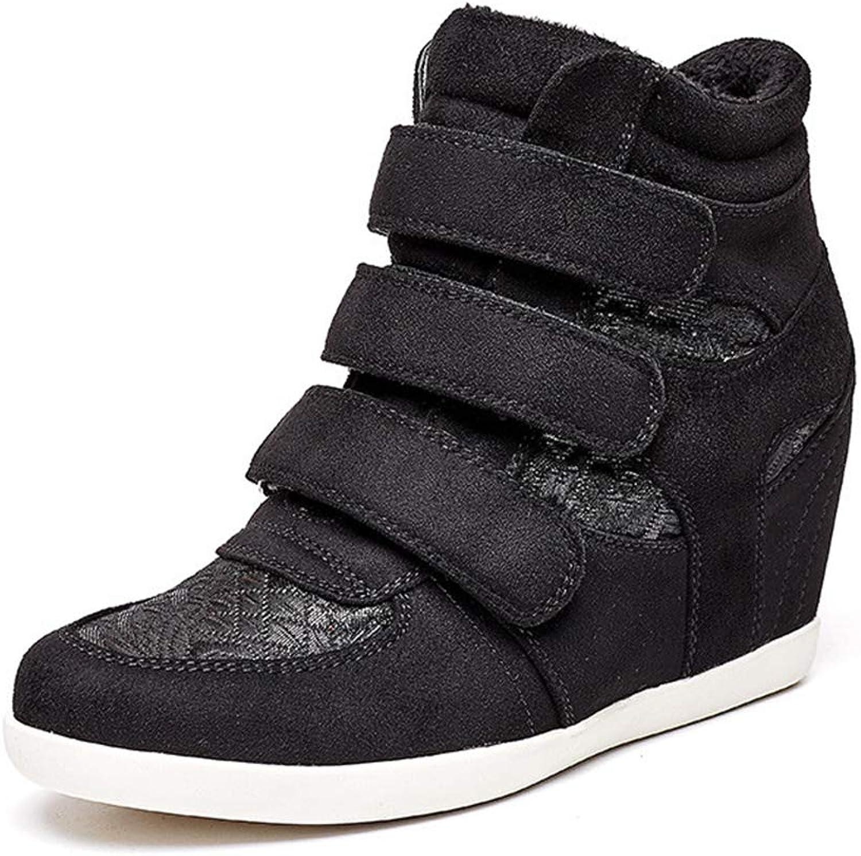 Btrada Women Hook Loop Wedges Sneakers High-top Hiden Heel Fashion Platform High Heel Casual shoes