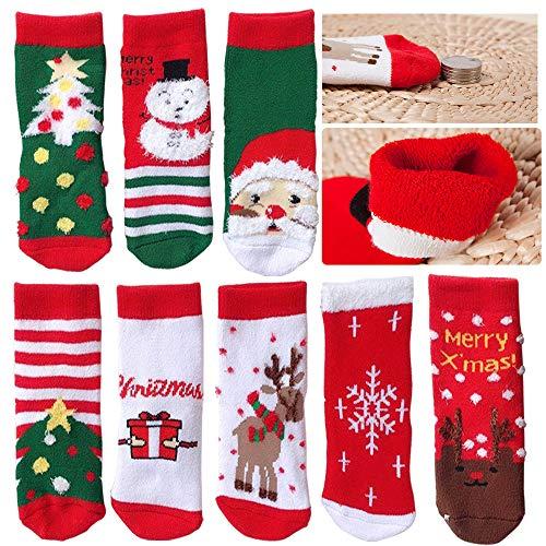 SPECOOL 4 Pares Calcetines Navideños para Niños, Calcetines de Invierno Cálidos y Bonitos Punto Algodón para Festivales Navidad para Niños Pequeños, Niñas, Niños (M 7-10)