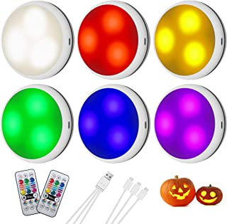 LED Puck Lights,Under Counter Light Fixtures,USB Rechargeable Cordless Touch Lights,Non AA Battery Powered Stick-on Wall L...