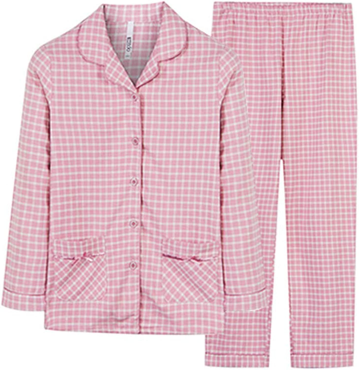 Nightgowns Pajamas Couple LongSleeved Cotton Pajamas Woven Grinds Home Pajamas Women Spring and Autumn Cotton Pajamas Home Service Pajamas Set Winter (color   Pink, Size   XL (67))
