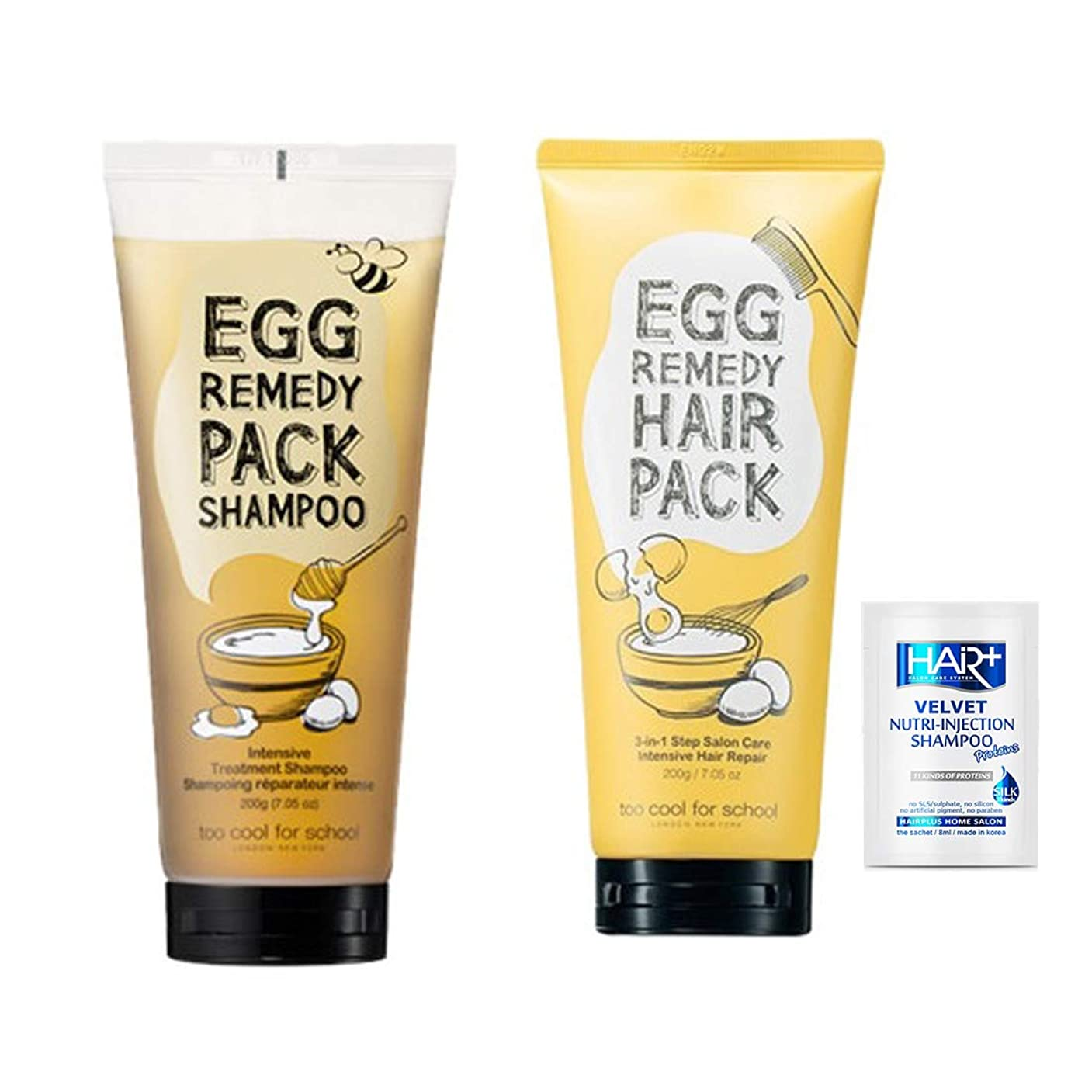 ロケット代表して刺しますトゥークールフォ―スクール(too cool for school)/エッグレミディパックシャンプーtoo cool for school Egg Remedy Pack Shampoo 200ml + エッグレミディヘアパック/too cool for school Egg Remedy Hair Pack 200ML [並行輸入品]+non silicon shampoo 8ml