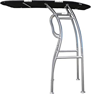 Dolphin Pro2 T-TOP Center Console Fishing Boat Tower Bimini Canopy, Marine Anodized Aluminum, Collapsible TTOP, Centre Fold Down Shade Roof