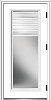 National Door Company ZZ364941L Primed, Left Hand Outswing, Prehung Front Door, Full Lite, Clear Low-E Glass, Internal Blinds, 32