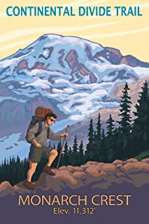 Monarch Crest, Colorado - Continental Divide Trail - Hiker and Mountain (12x18 Art Print, Wall Decor Travel Poster)