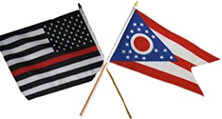 ALBATROS 12 inch x 18 inch USA Thin Red Line with State Ohio Stick Flag for Home and Parades, Official Party, All Weather Indoors Outdoors