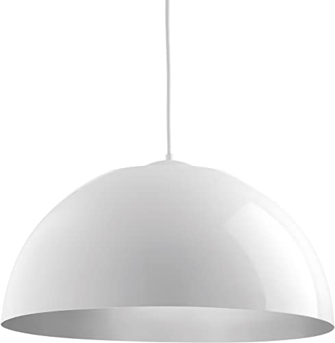 Dome LED Collection 1-Light White/Painted Silver Metal Shade Modern Pendant Light White